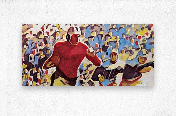1937 Vintage Football Art Running Back Artwork  Metal print