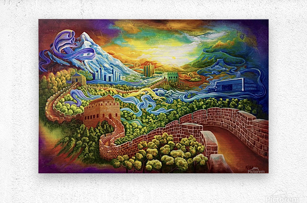 The Great Wall now and then  Metal print