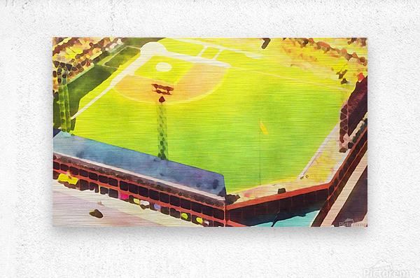 Baseball Ballpark Colorful Art Print  Metal print