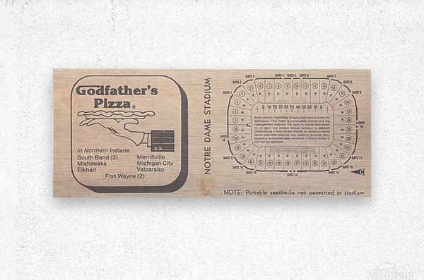 Retro Stadium Maps_Notre Dame Stadium Map_1982_South Bend Indiana Maps_Godfathers Pizza Ad_Artwork  Metal print