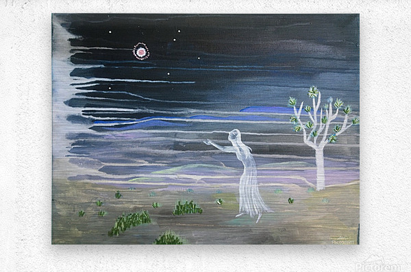 She chased the moon  Metal print