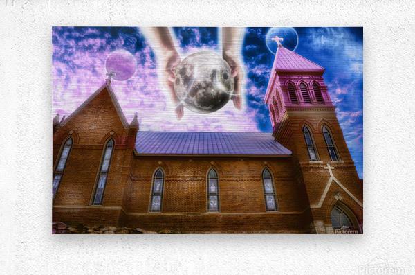The Hands of God Church  Metal print
