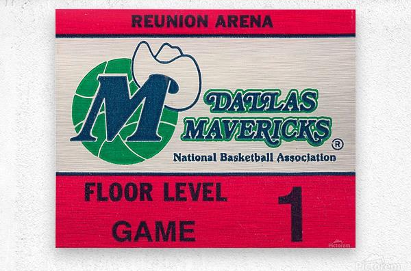 Vintage Dallas Mavericks Wall Art_Ticket Stub Artwork Reproduction  Metal print