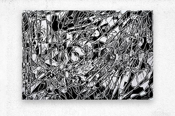 Black & White Art Threshold Light Texture  Metal print