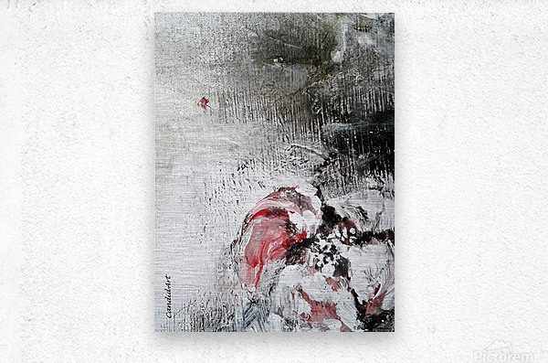 One Flower Red Black White  Metal print
