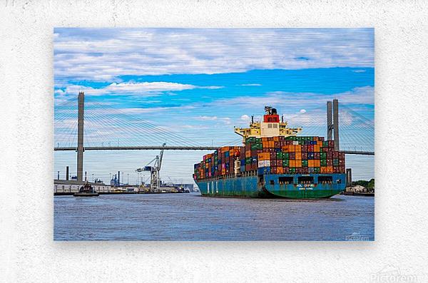 Cargo Ship on the Savannah River 04044  Metal print