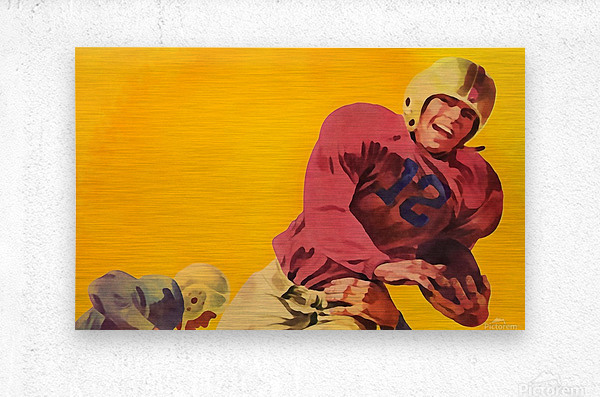 Vintage Football Artwork_Vintage Football Posters  Metal print
