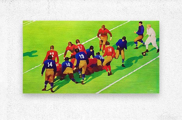 Vintage Football Art Sunny Day Gridiron Artwork  Metal print