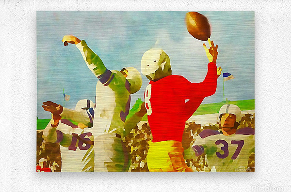Vintage Football Print_Touchdown Catch Artwork  Metal print