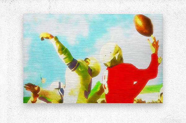 Vintage Football Print_Touchdown Catch Art Print  Metal print