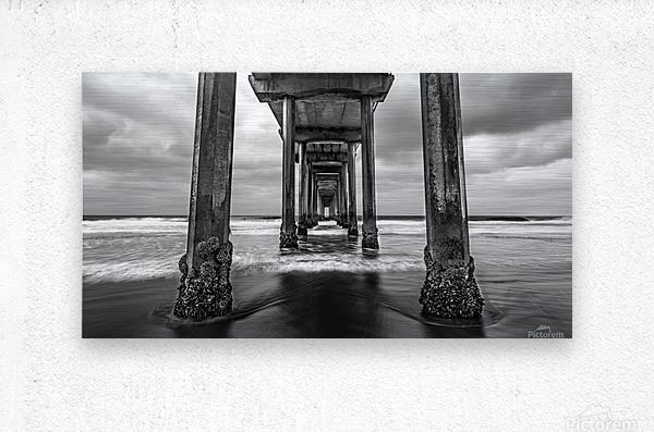 Scripps Pier in B&W  Metal print