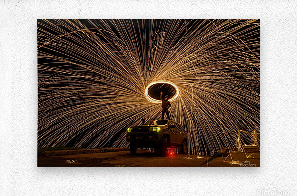 Hes on fire  Metal print