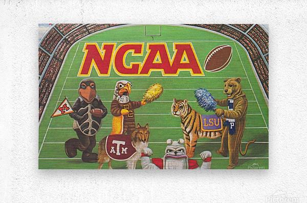 1984 NCAA Football Ad Reproduction_Vintage Sports Ads_Retro Sports Advertisement  Metal print