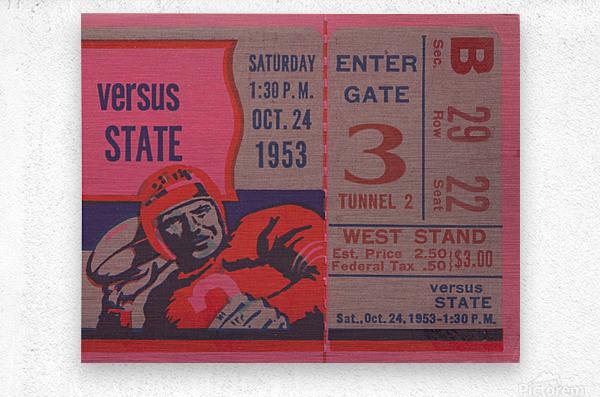 Vintage Football Ticket Stub Art   Metal print