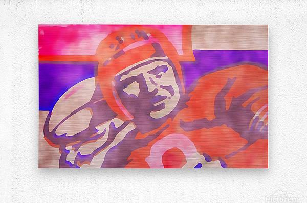 Vintage Quarterback Football Art_Watercolor Style Sports Art Print  Metal print