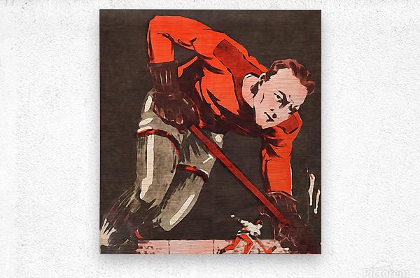 Vintage Hockey Watercolor Art Print  Metal print