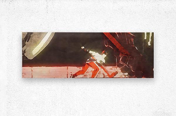 Vintage Hockey Artwork_Hockey Posters  Metal print