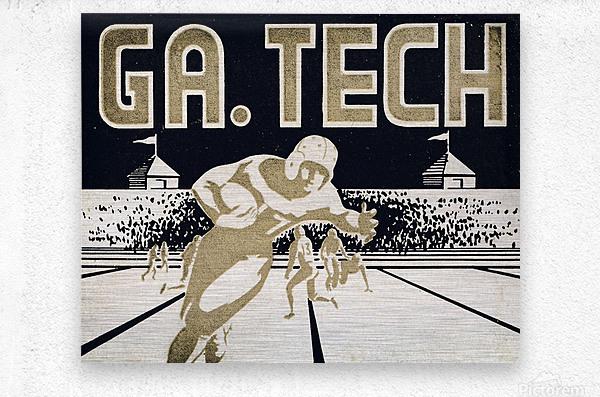 Vintage Georgia Tech Football Art_College Football Fine Art Print  Metal print