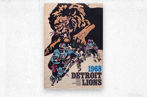 1968 Detroit Lions NFL Press Guide Reproduction Art_Detroit Michigan Gift Ideas  Metal print