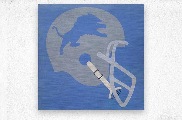 Vintage Detroit Lions Helmet Art (1965) Reproduction Fine Art Print (1)  Metal print