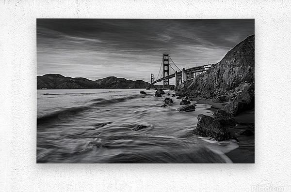 B&W Golden Gate Sunset  Metal print