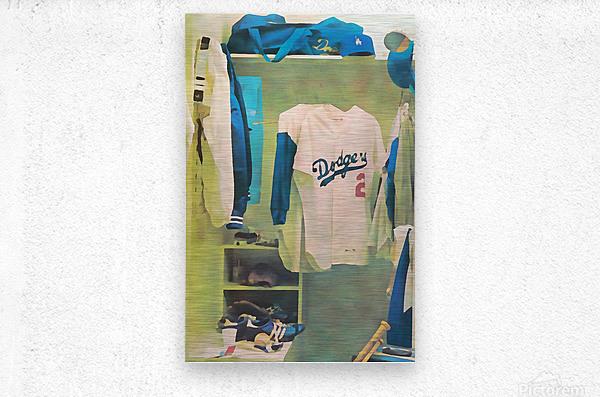 Vintage LA Dodgers Baseball Locker Room Art_Retro Baseball Art Print Los Angeles Dodgers Jersey_Art (1)  Metal print