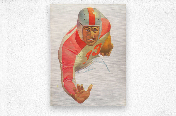 Lon Keller Football Art Reproduction_Best Vintage Football Art_Football Art Print Digitally Restored  Metal print