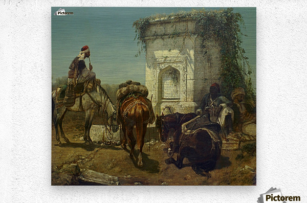 Arabs resting by a marble fountain  Metal print