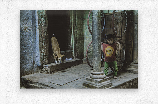 Varanasi girl and dog  Metal print