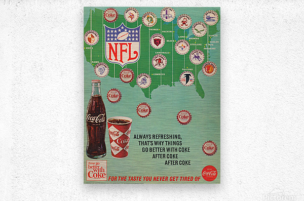 Vintage Coke NFL Bottle Cap Ad  Metal print