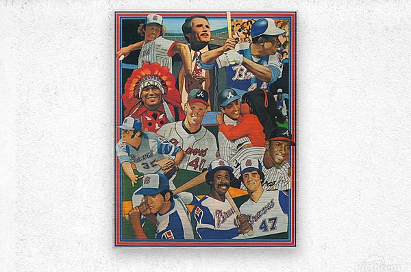 atlanta braves poster vintage baseball retro sports art reproduction  Metal print