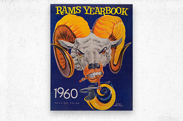 1960 nfl los angeles rams yearbook cover art price one dollar karl hubenthal  Metal print
