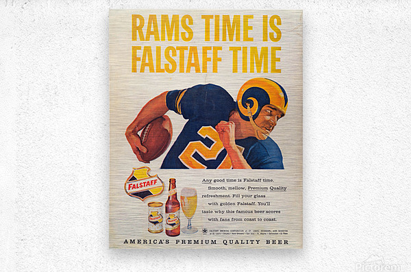 vintage falstaff beer ad la rams poster retro ads reproduction art  Metal print