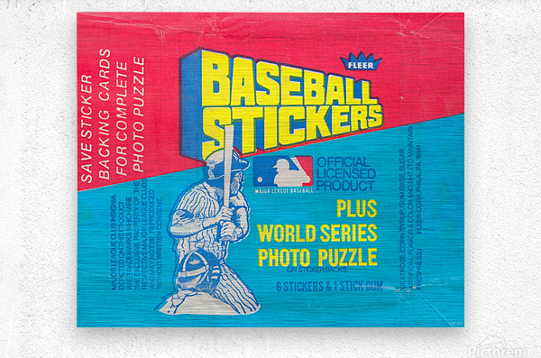 vintage fleer mlb baseball sticker package art design reproduction art  Metal print