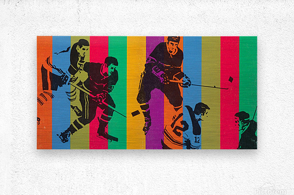 vintage hockey art colorful sports art poster  Metal print
