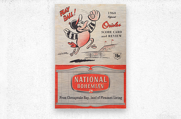 1960 baltimore orioles baseball score card review national bohemian beer ad poster  Impression metal