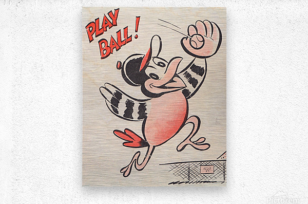 baltimore orioles posters wall art play ball art cartoon baseball print metal canvas acrylic artwork  Impression metal