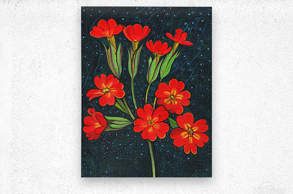 Red flowers shining in a magical starry night  Metal print