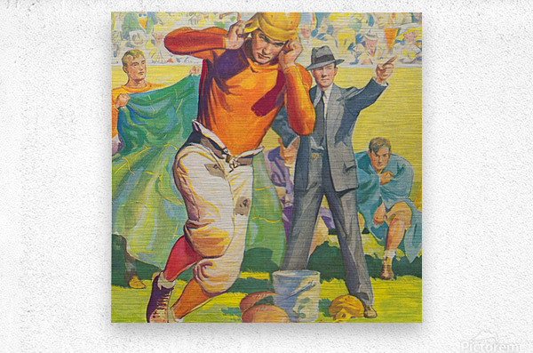 football poster american vintage gridiron sideline art print  Metal print