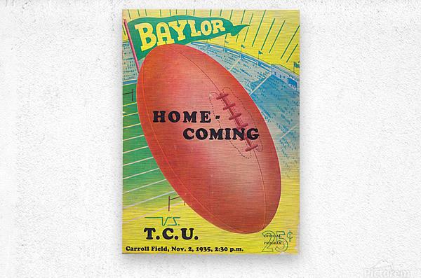 1935 College Football Program Cover Art Poster  Baylor Bears vs. TCU Football Art Print Posters  Metal print