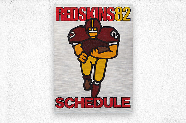 1982 Washington Redskins NFL Football Schedule Art Poster Row One Brand  Metal print
