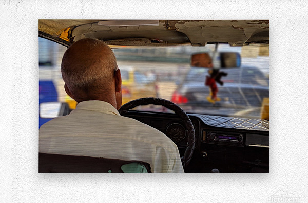 Taxi driver in Cuba  Metal print