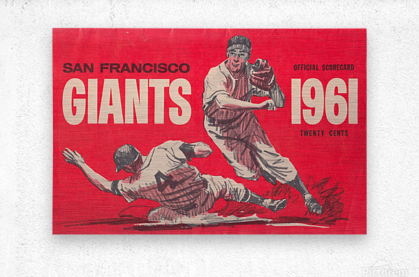 1961 San Francisco Giants Scorecard_Bay Area Home Decor Ideas  Metal print