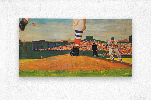 The Mound_Vintage Red Sox Baseball Art_Row One Brand  Metal print