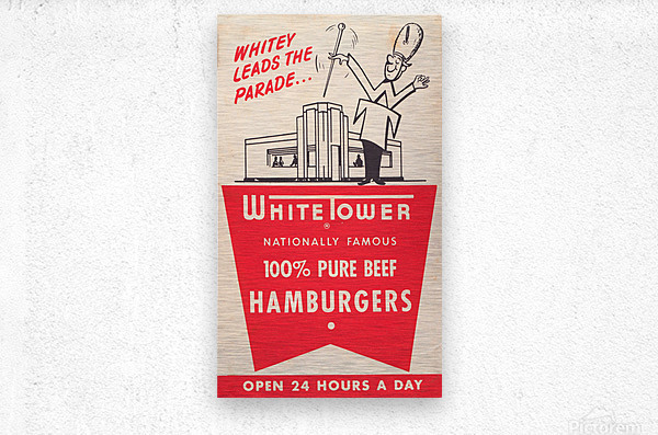 white tower hamburger ad  Metal print