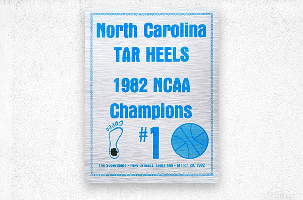 1982 North Carolina Tar Heels NCAA Champions Poster Reproduction Art  Metal print