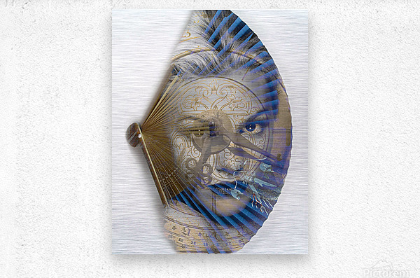 Face with clock and fan  Metal print