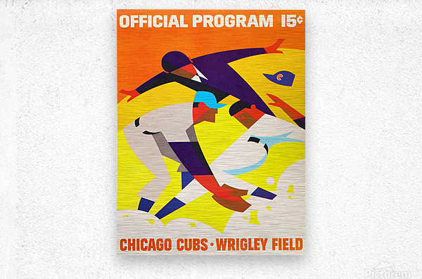 1967 Chicago Cubs Wrigley Field Program Poster_Vintage Cubs Art  Metal print