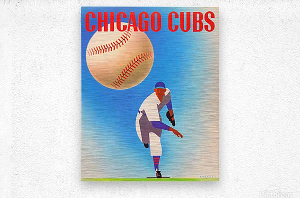 Otis Shepard Remix_Public Domain Sports Art Remixes_Chicago Cubs Poster by Row One  Metal print