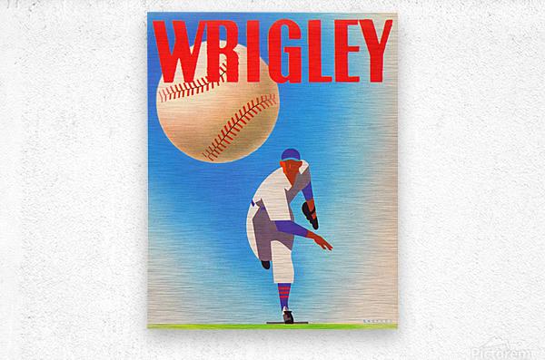 Row One Brand Sports Art Remixes_Public Domain Sports Art Remix_Chicago Cubs Wrigley Poster  Metal print